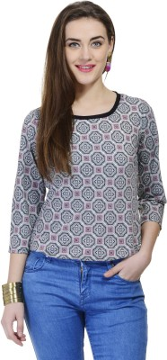 Fugue Casual Full Sleeve Printed Women's Grey Top