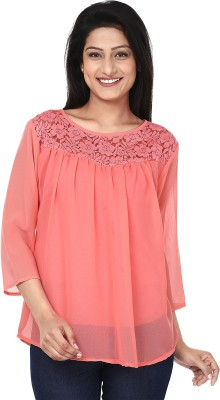 Anam Export Casual 3/4 Sleeve Solid Women's Pink Top
