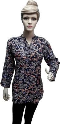 Sneharsh Casual, Festive Full Sleeve Floral Print Women's Black Top
