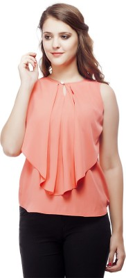 ORIANNE Casual Sleeveless Solid Women's Pink Top