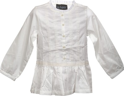 Lil Poppets Casual, Party Full Sleeve Solid Baby Girl's White Top