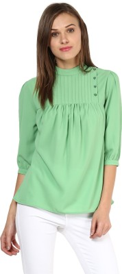 Rare Casual 3/4th Sleeve Solid Women's Green Top at flipkart