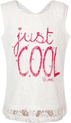 VITAMINS Casual Sleeveless Graphic Print Girl's White Top