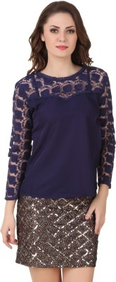 Big Pout Casual, Party, Festive Full Sleeve Self Design Women's Blue Top