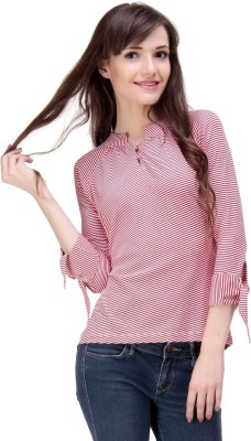 Ebry Casual 3/4 Sleeve Striped Women's Red Top