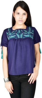 Palette Casual Short Sleeve Embroidered Women's Blue Top