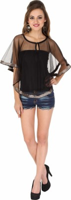 Western Route Casual Sleeveless Solid Women's Black Top
