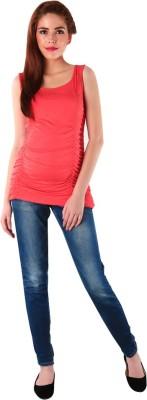 MOMZJOY Casual, Sports, Lounge Wear Sleeveless Solid Women's Orange Top