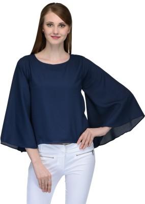Natty India Casual Kimono Sleeve Solid Women's Blue Top
