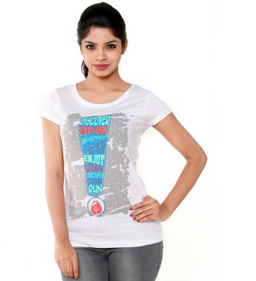 PEP18 Casual Short Sleeve Graphic Print Women's White Top