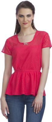 Peptrends Party Short Sleeve Self Design Women's Pink Top