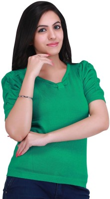 Nirosha Casual Short Sleeve Solid Women's Green Top