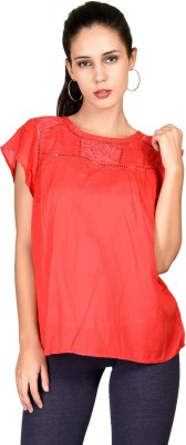 Curvy Q Casual Butterfly Sleeve Solid Women's Orange Top