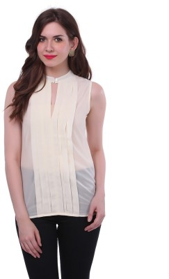 Colors Couture Casual Sleeveless Solid Women's White Top