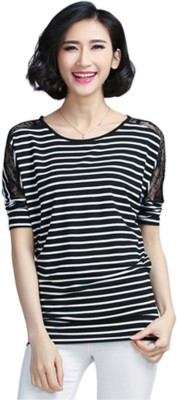 Brandstand Casual Short Sleeve Striped Women,s Black Top