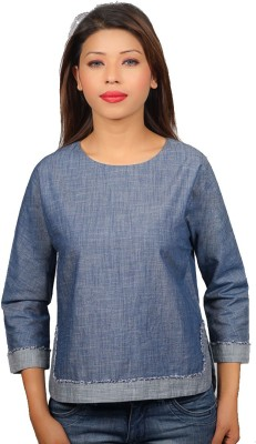 TESSELLATE Formal Full Sleeve Solid Women's Blue Top
