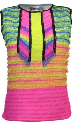 Attuendo Party Sleeveless Applique Women's Multicolor Top