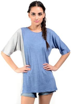 Oranje Casual Short Sleeve Striped Women's Blue, Grey Top