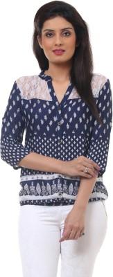 Lynda Casual 3/4 Sleeve Printed Women's Blue, White Top