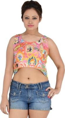 Vritti Casual Sleeveless Printed Girl's Multicolor Top