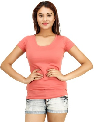 Opiumstreet Casual Short Sleeve Solid Women's Pink Top