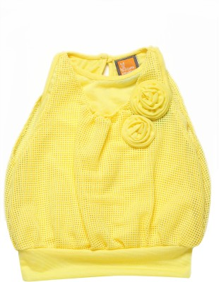 Little Kangaroo Casual Sleeveless Solid Girl's Yellow Top