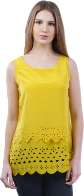 Merch21 Casual Sleeveless Self Design Women's Yellow Top