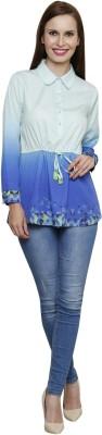 SHE LIKE Casual Full Sleeve Printed Women's Light Blue Top