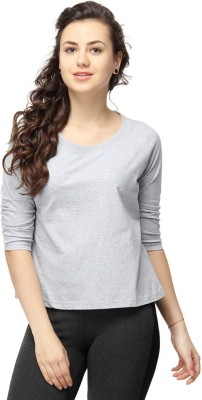 Campus Sutra Casual 3/4 Sleeve Solid Women's Grey Top