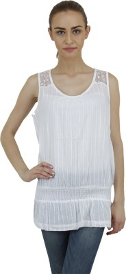 Hapuka Casual Sleeveless Solid Women's White Top