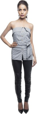Sassystripes Casual Sleeveless Solid Women's Grey Top