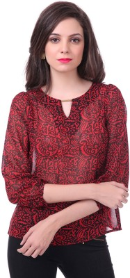 Sassafras Casual 3/4th Sleeve Printed Women's Black, Red Top at flipkart
