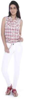 Miss Pink Casual Sleeveless Checkered Girl's Multicolor Top