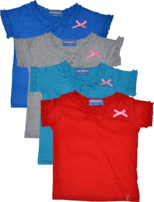 Clever Casual Short Sleeve Solid Baby Girl's Multicolor Top