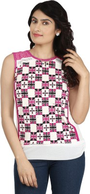 Fabomen Casual Sleeveless Printed Women's Pink Top