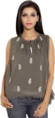 Simplona beau Casual Sleeveless Printed Women's Grey Top