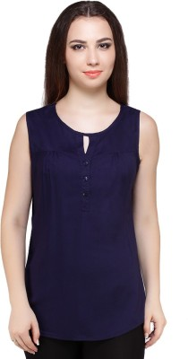 Styles Clothing Casual Sleeveless Solid Women's Blue Top