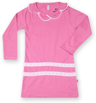 Dreamszone Casual 3/4 Sleeve Solid Girl,s Pink Top