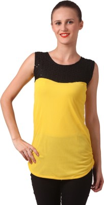 London Off Party Sleeveless Embellished Women's Yellow Top