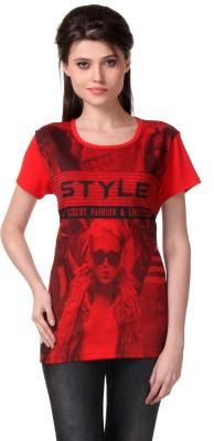 WAKO Casual Short Sleeve Printed Women's Red Top