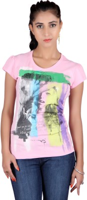 Raves Casual, Sports, Party Short Sleeve Printed Women's Pink Top