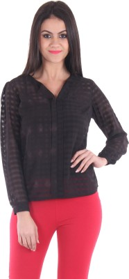 SS Casual Full Sleeve Striped Women's Black Top
