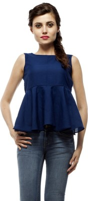 PrettyPataka Party Sleeveless Solid Women's Blue Top
