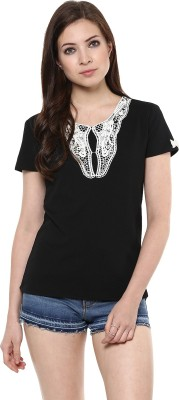 AR2 Party Short Sleeve Solid Women's Black Top