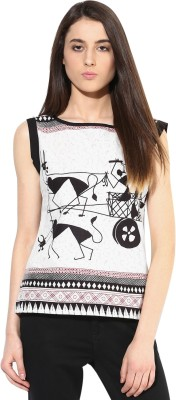 JaipurKurti Casual Sleeveless Animal Print Women's Black, White Top