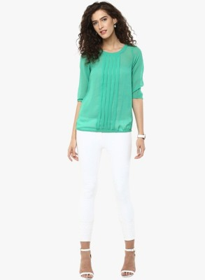 BC International Casual 3/4 Sleeve Solid Women's Green Top