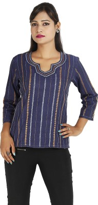 Ra Studio Casual, Festive 3/4 Sleeve Embroidered Women's Blue Top