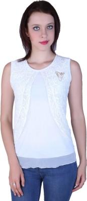 Zavi Casual Sleeveless Solid Women's White Top
