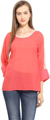 Label VR Casual 3/4 Sleeve Solid Women's Red Top