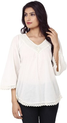 India Inc Casual 3/4 Sleeve Solid Women's White Top